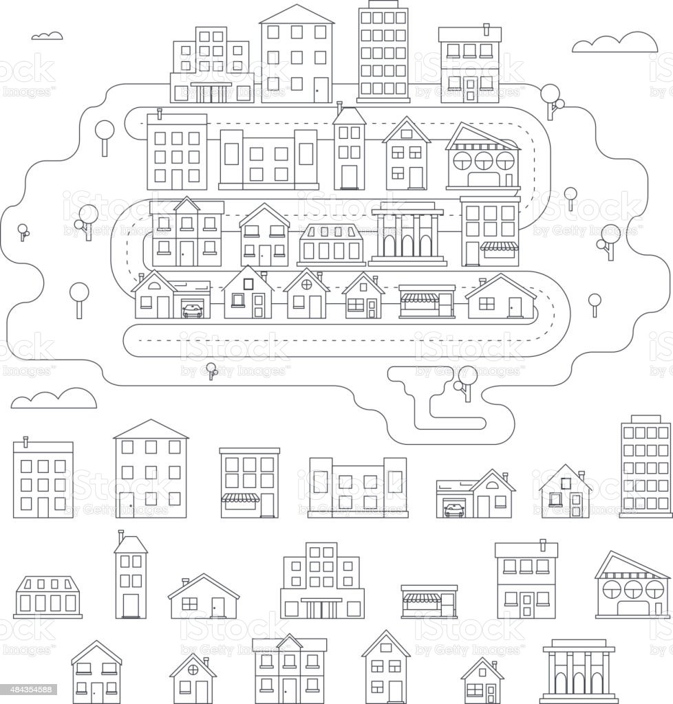 Real Estate City Building House Street Linear Icons Constructor Set vector art illustration