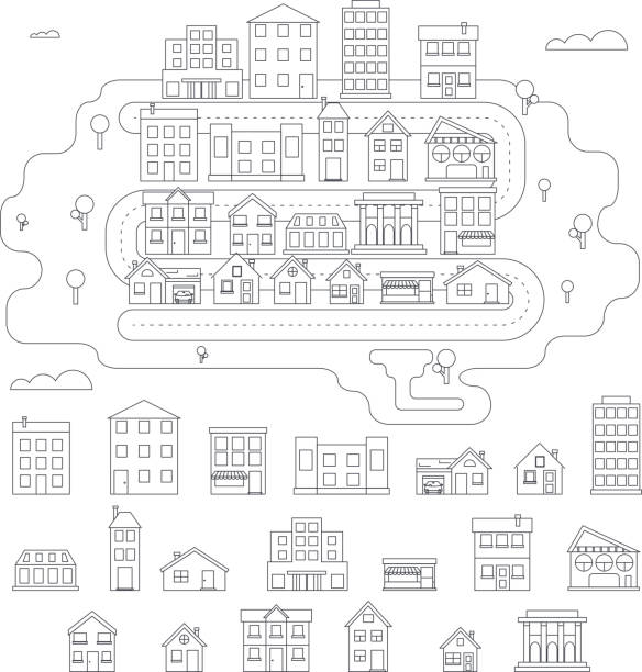 Real Estate City Building House Street Linear Icons Constructor Set Real Estate City Building House Street Linear Icons Constructor Set Isolated Graphic Template Stock Vector Illustration community drawings stock illustrations