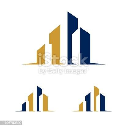 istock Real Estate City Skyline Logo Template Illustration Design. Vector EPS 10. 1196793590