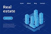 Real estate company concept. Vector illustration of city with buildings, skyscrapers. Urban cityscape in modern isometric style.