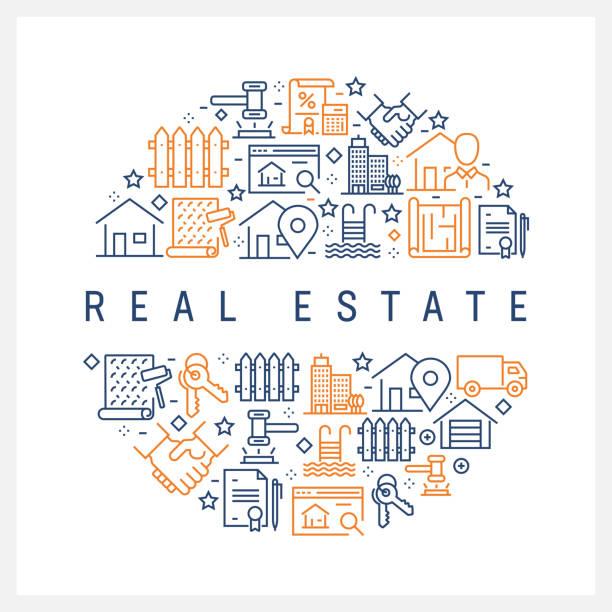 ilustraciones, imágenes clip art, dibujos animados e iconos de stock de concepto de bienes raíces - los iconos de colores de línea, dispuesta en círculo - hipotecas y préstamos