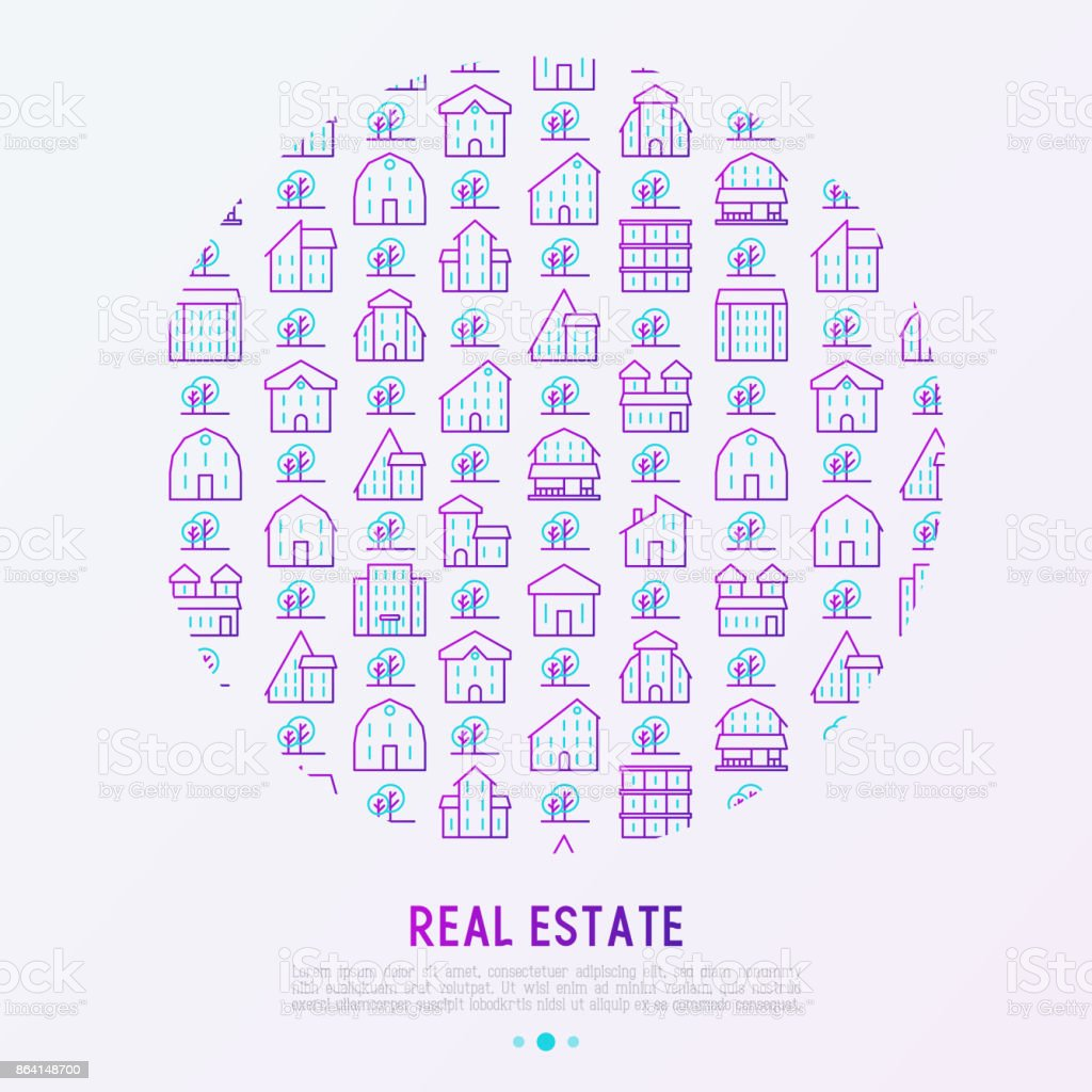 Real estate concept in circle with thin line houses and trees. Modern vector illustration for background of banner, web page, print media. royalty-free real estate concept in circle with thin line houses and trees modern vector illustration for background of banner web page print media stock vector art & more images of architecture