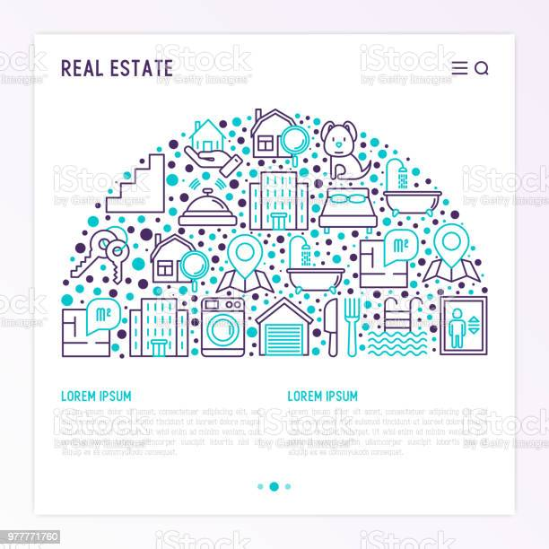 Real Estate Concept In Half Circle With Thin Line Icons Apartment House Bedroom Keys Elevator Swimming Pool Bathroom Facilities Modern Vector Illustration For Web Page Print Media Stock Illustration Download Image