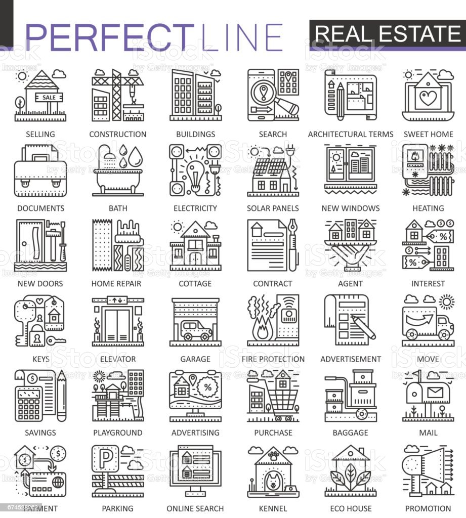 Real estate concept symbols perfect thin line icons modern stroke real estate concept symbols perfect thin line icons modern stroke linear style illustrations set biocorpaavc Image collections