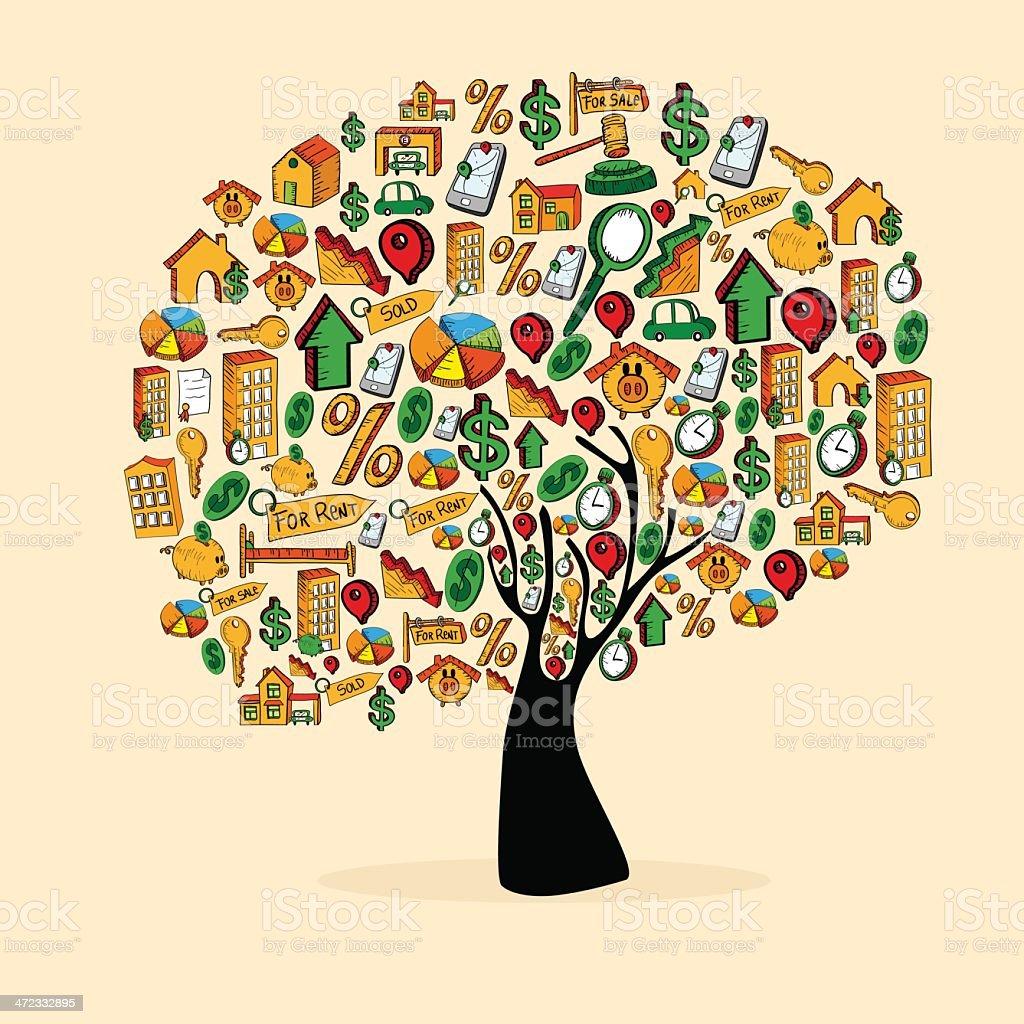 Real estate concept tree vector art illustration