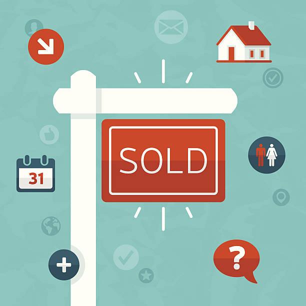 immobilien-konzept - verkaufen stock-grafiken, -clipart, -cartoons und -symbole