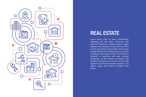 Real Estate Concept, Vector Illustration of Real Estate with Icons