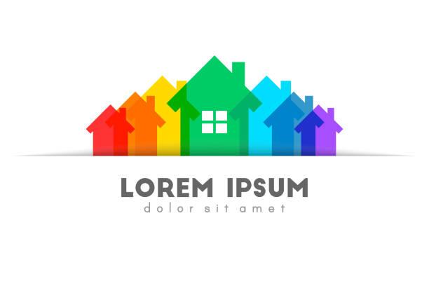 stockillustraties, clipart, cartoons en iconen met onroerend goed concept met kleurrijke huis set - buren