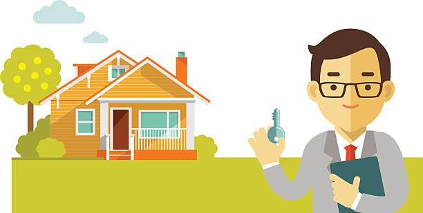 immobilien-konzept mit haus und makler in flachen stil - neues zuhause stock-grafiken, -clipart, -cartoons und -symbole