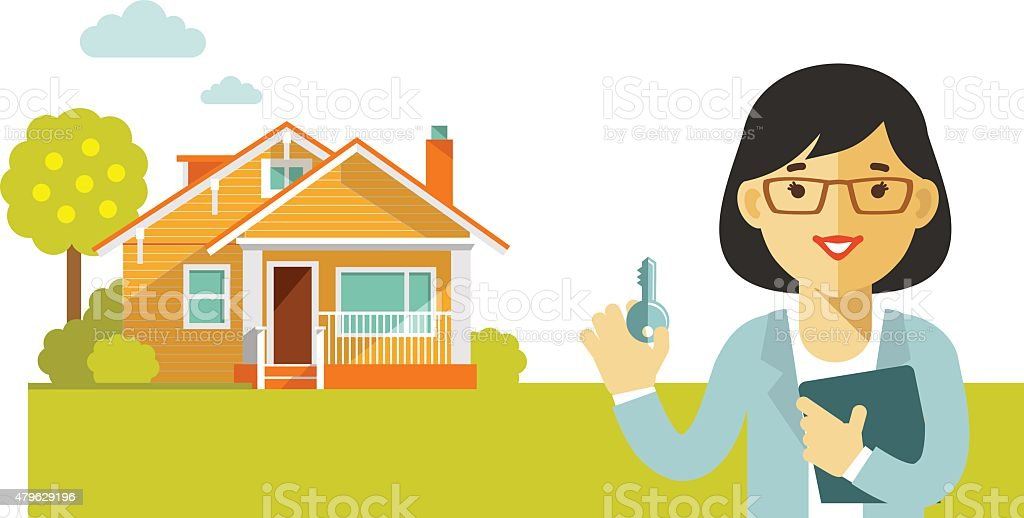 Real estate concept with house and realtor in flat style vector art illustration