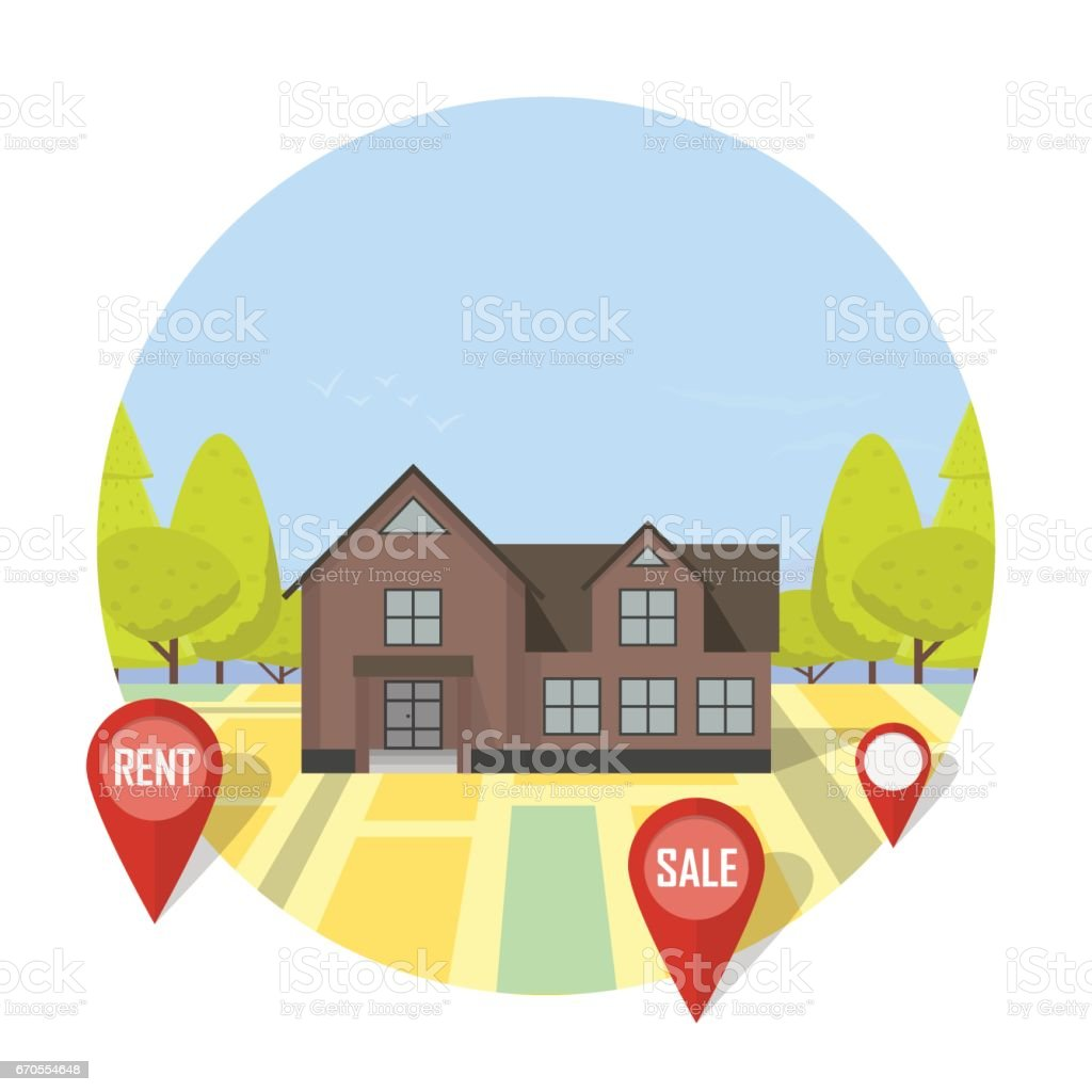 Real estate concept with house for sale and rent symbols vector real estate concept with house for sale and rent symbols vector illustration royalty free real biocorpaavc Image collections