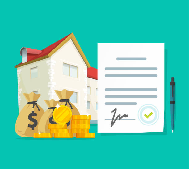 Real estate contract or property mortgage loan signed agreement vector illustration, flat cartoon house or apartment with financial document, investment or purchase, credit or rental deal budget vector art illustration
