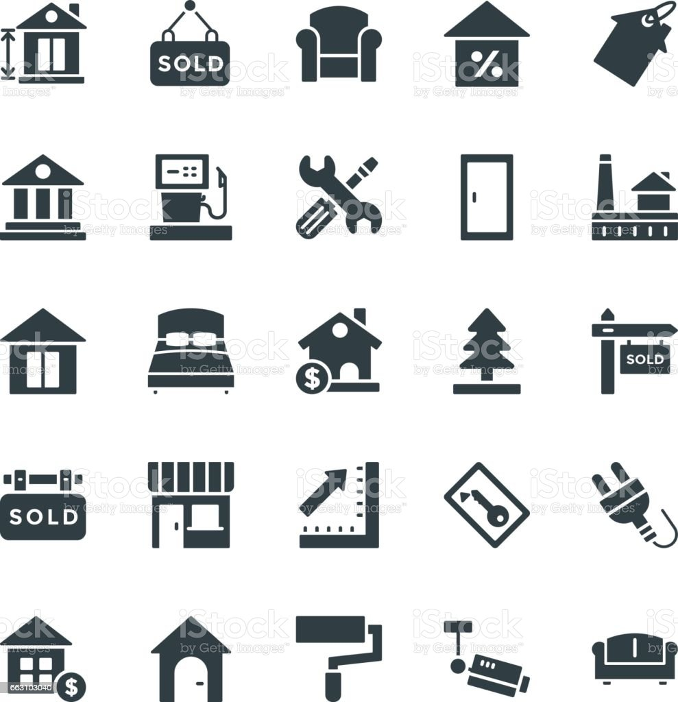 Real estate cool vector icons 3 stock vector art 663103040 istock blueprint chart commercial sign door entrance malvernweather Images