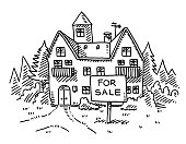 Real Estate Country House For Sale Sign Drawing
