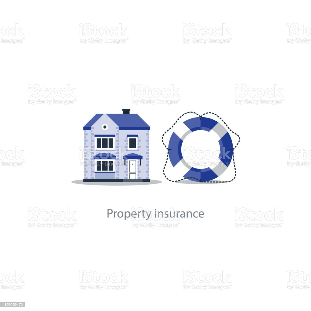 Real estate coverage icon, protection system, security, house insurance vector art illustration