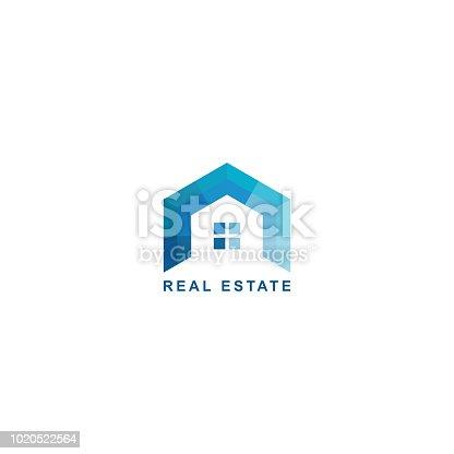 geometric simple blue flat style design, home, window