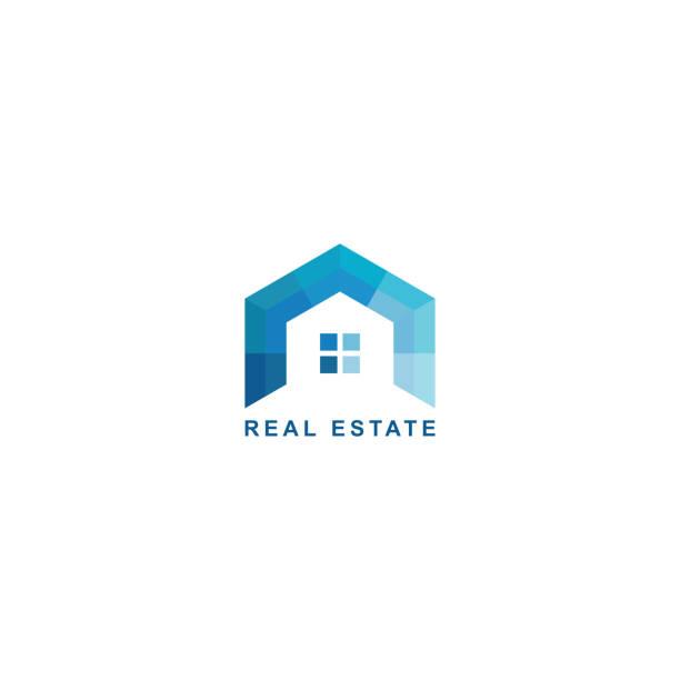 real estate design. geometric blue color design geometric simple blue flat style design, home, window home ownership stock illustrations