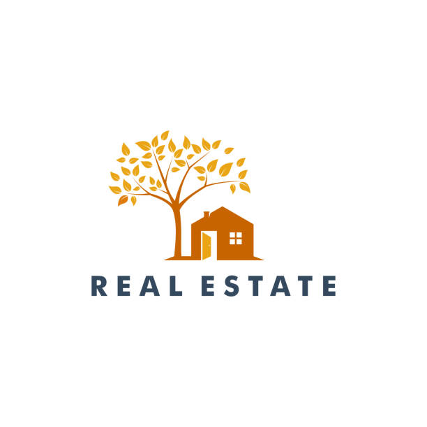 real estate design, home icon vector illustration - real estate logos stock illustrations, clip art, cartoons, & icons