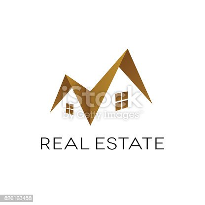 Design of real estate on white background. Roof shape. Isolated vector illustration.