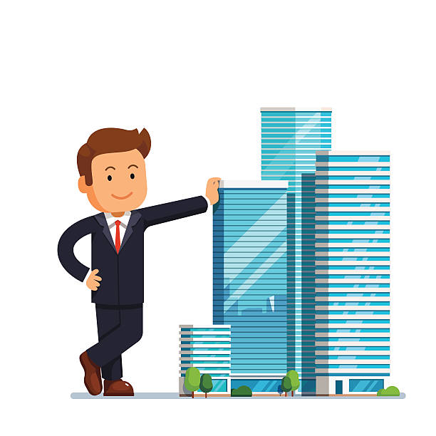 ilustraciones, imágenes clip art, dibujos animados e iconos de stock de real estate developer entrepreneur concept - corredor de bolsa