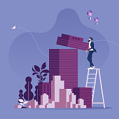 Real estate developer entrepreneur concept-Business concept vector,businessman building office