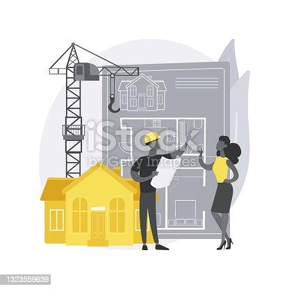 Ilustración vectorial de concepto abstracto de desarrollo inmobiliario.