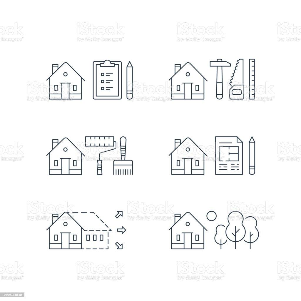 Real estate development, house renovation, home improvement, paint services, contraction work, enlargement,green neighborhood vector art illustration