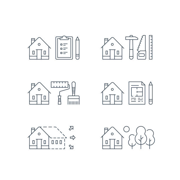 ilustrações de stock, clip art, desenhos animados e ícones de real estate development, house renovation, home improvement, paint services, contraction work, enlargement,green neighborhood - alter do chão