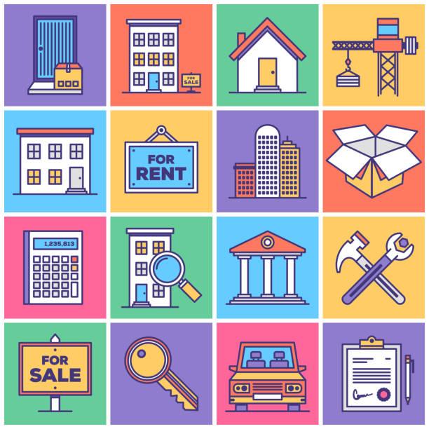Real Estate Development Icon Set Flat Line Style Vector Illustrations for Real Estate Development. lease agreement stock illustrations