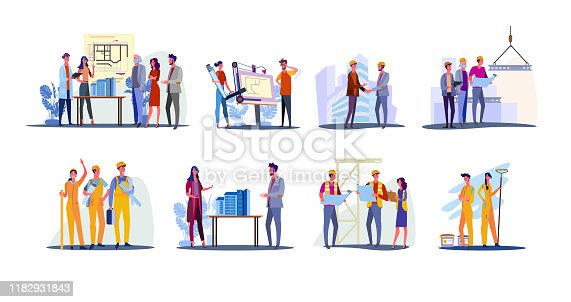 Real estate development set. Architects working on building design, foreman and engineer shaking hand. Flat vector illustrations. Construction concept for banner, website design or landing web page