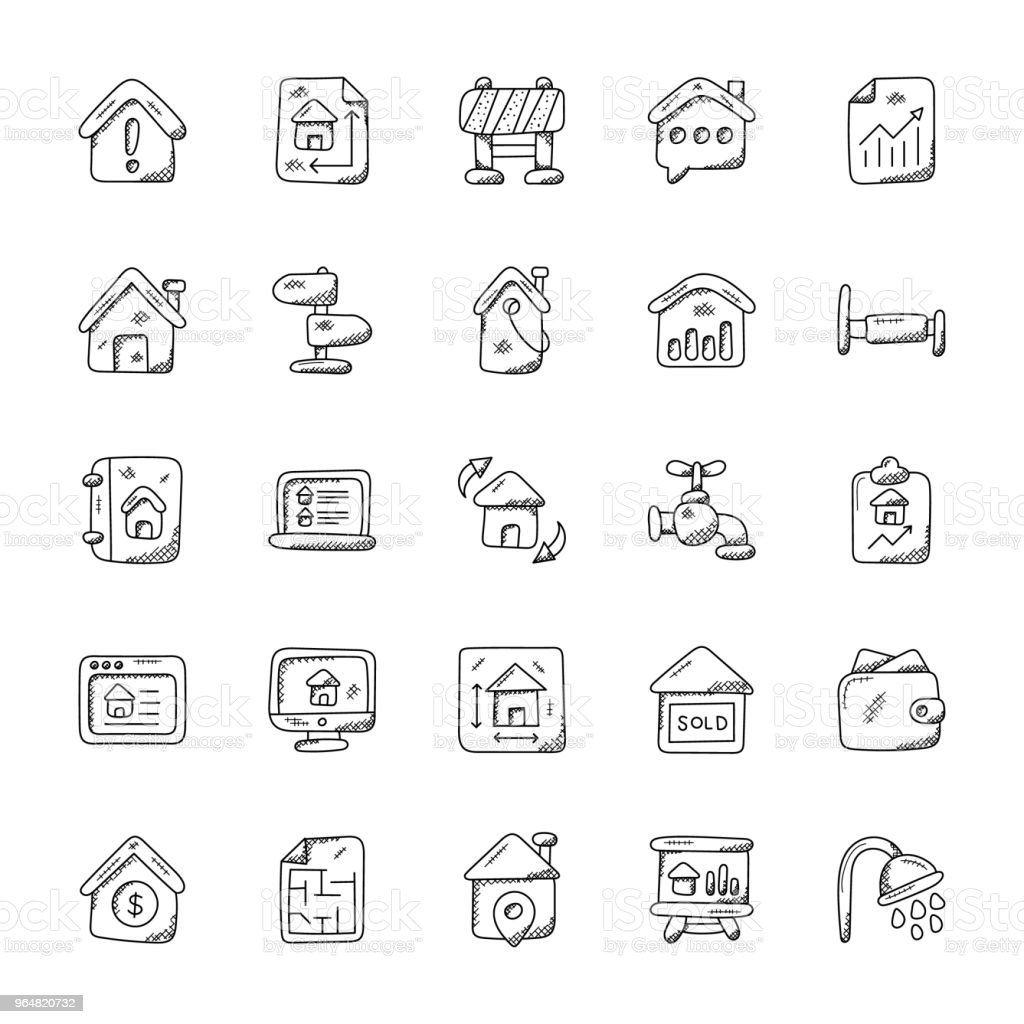 Real Estate Doodle Vector Icons Set royalty-free real estate doodle vector icons set stock vector art & more images of barricade