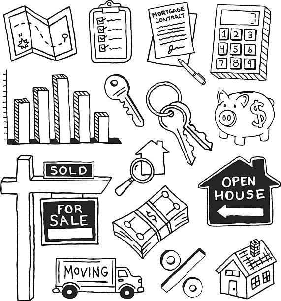недвижимость каракули - dollar bill stock illustrations