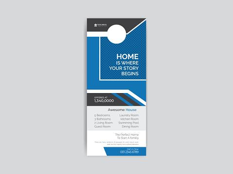 Real estate door hanger Design template, Corporate Door Hanger Tags for Room in Hotel or Resort Paper Door Handle Lock Hangers Set