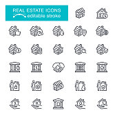 Real Estate, Residential Building, Garage, Built Structure, Moving House, For Sale, Editable Stroke Icon Set