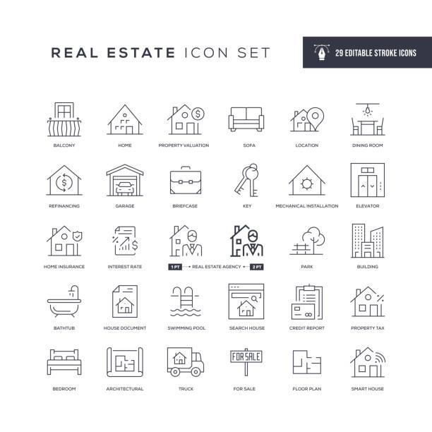 nieruchomości edytowalne ikony linii obrysu - home icon stock illustrations