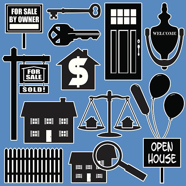immobilien-elemente - türklopfer stock-grafiken, -clipart, -cartoons und -symbole