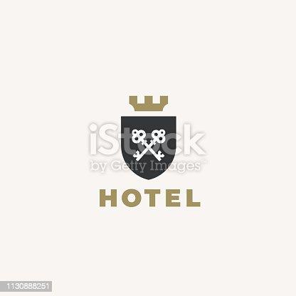 Real estate emblem. Keys icon design. Premium style illustration.