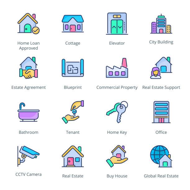 부동산 채워진 라인 아이콘 - home icon stock illustrations