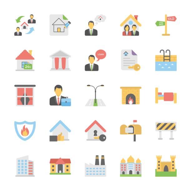 부동산 플랫 컬러 아이콘을 설정 3 - work from home stock illustrations
