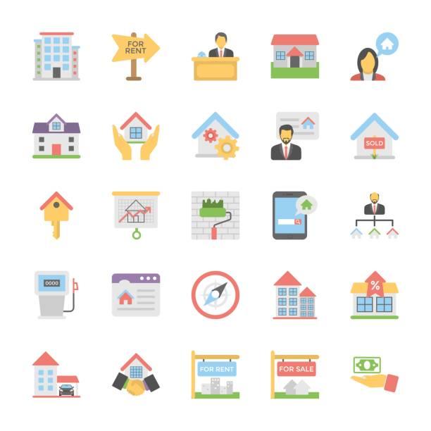 부동산 플랫 컬러 아이콘 세트 4 - work from home stock illustrations