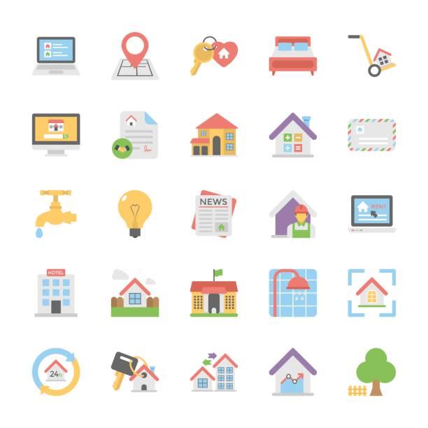 부동산 플랫 컬러 아이콘 세트 6 - work from home stock illustrations