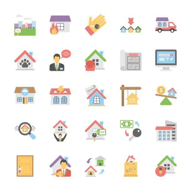 Inmobiliaria los iconos color plano conjunto 8 - ilustración de arte vectorial