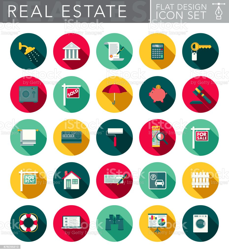 Real Estate Flat Design Icon Set with Side Shadow vector art illustration