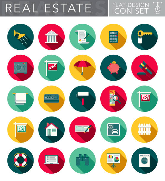 Real Estate Flat Design Icon Set with Side Shadow A real estate and home ownership themed circular flat design style icon set with a long side shadow. File is cleanly built and easy to edit. Vector file is built in the CMYK color space for optimal printing. house key stock illustrations