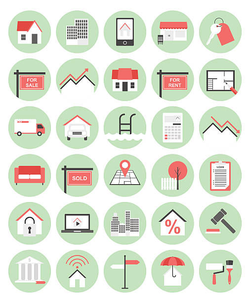real estate flache icon-set - gartensofa stock-grafiken, -clipart, -cartoons und -symbole