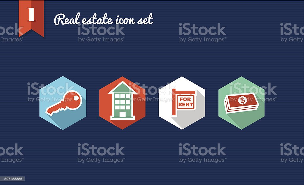 Real estate flat icons set collection vector art illustration