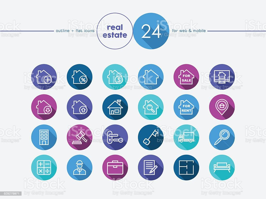 Real estate flat icons set vector art illustration