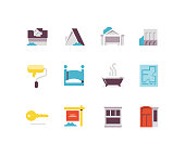 Real estate icons including house, floorplan, upgrades, bathrooms, realty, commercial