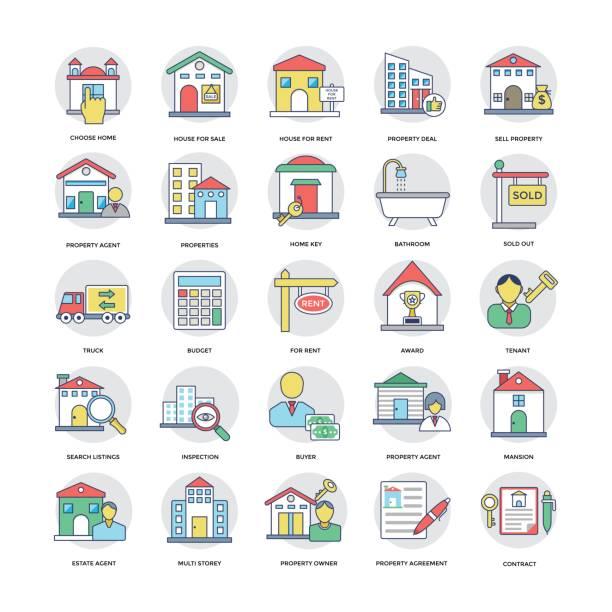 부동산 플랫 라인 아이콘 1 세트 - work from home stock illustrations