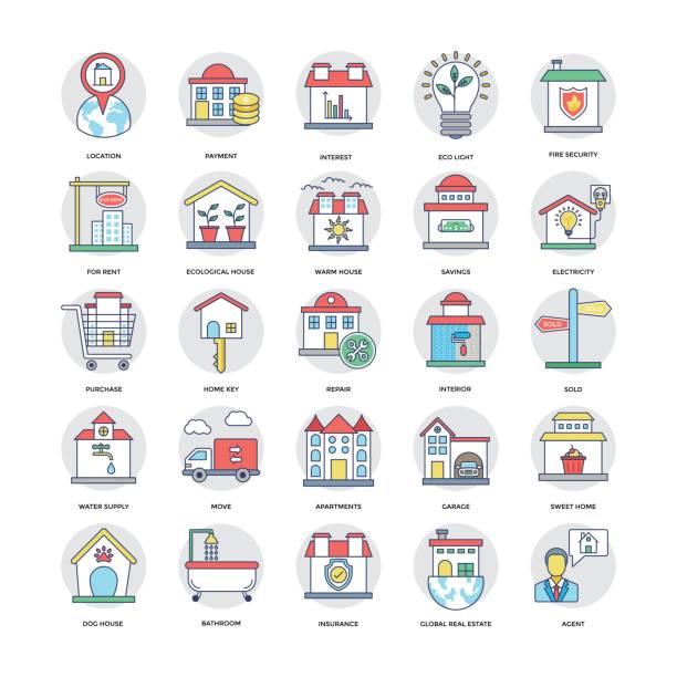 부동산 플랫 라인 아이콘 설정 7 - work from home stock illustrations